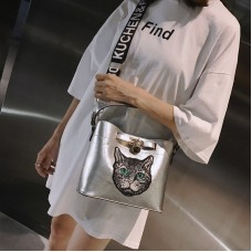 Embroidered Cat Head  Square Pack Shoulder Bag Crossbody Package Clutch Women Designer Wallet Handbags Bolsos Mujer